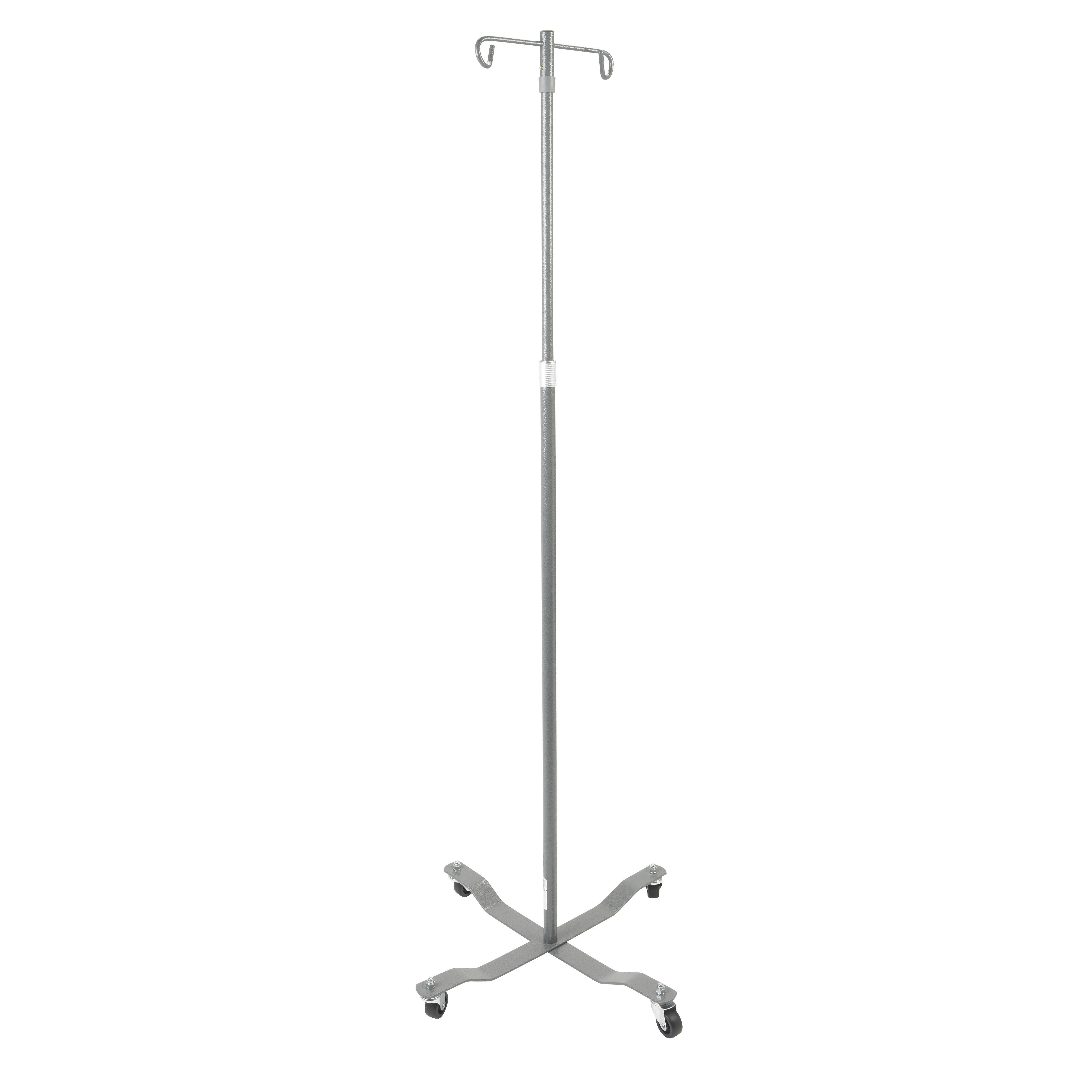 Drive DeVilbiss Healthcare Economy Removable Top I. V. Pole, 2 Hook Top, Silver Vein