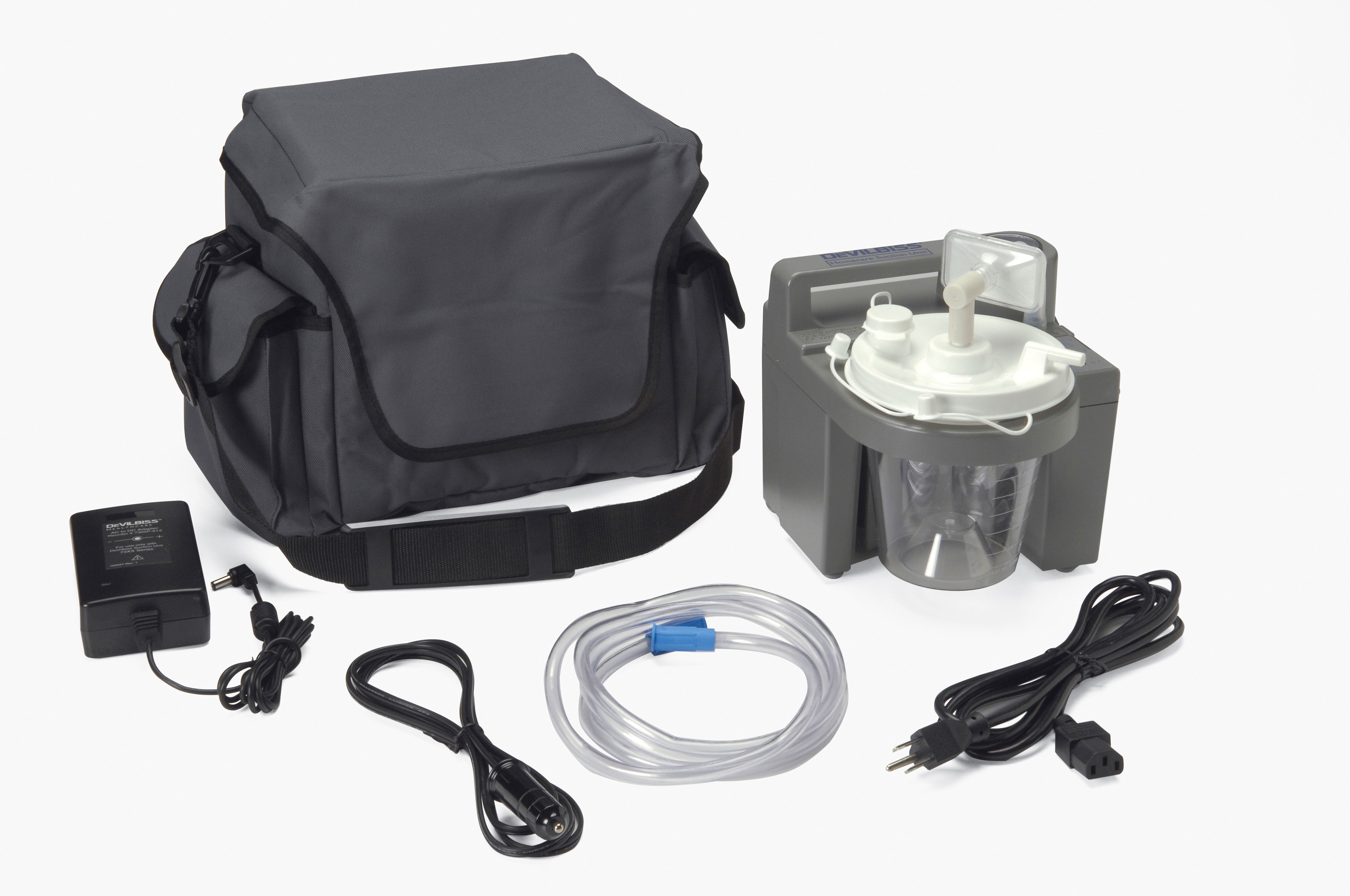 Drive DeVilbiss Healthcare 7305 Series Homecare Suction Unit with External Filter, Battery, and Carrying Case
